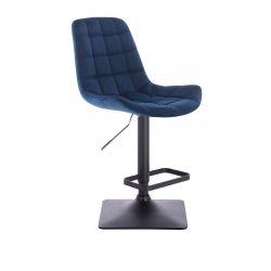 Barová židle PARIS VELUR na černé podstavě - modrá