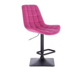 Barová židle PARIS VELUR na černé podstavě - růžová