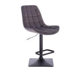 Barová židle PARIS VELUR na černé podstavě - šedá