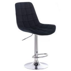 Barová židle PARIS VELUR na stříbrném talíři - černá