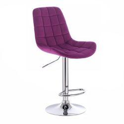 Barová židle PARIS VELUR na stříbrném talíři - fuchsie