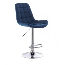 Barová židle PARIS VELUR na stříbrném talíři - modrá