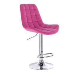 Barová židle PARIS VELUR na stříbrném talíři - růžová
