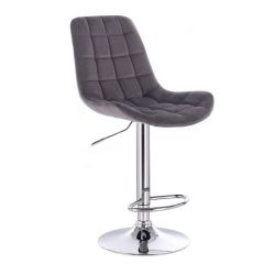 Barová židle PARIS VELUR na stříbrném talíři - šedá