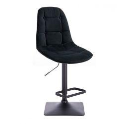 Barová židle SAMSON VELUR na černé podstavě - černá