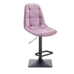 Barová židle SAMSON VELUR na černé podstavě - fialový vřes