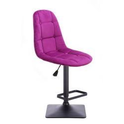 Barová židle SAMSON VELUR na černé podstavě - fuchsie