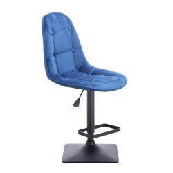 Barová židle SAMSON VELUR na černé podstavě - modrá
