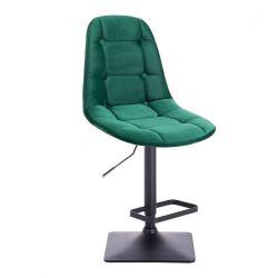 Barová židle SAMSON VELUR na černé podstavě - zelená