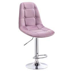 Barová židle SAMSON VELUR na stříbrném talíři - fialový vřes
