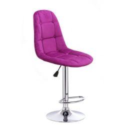 Barová židle SAMSON VELUR na stříbrném talíři - fuchsie