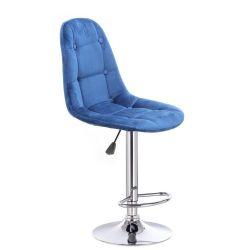 Barová židle SAMSON VELUR na stříbrném talíři - modrá