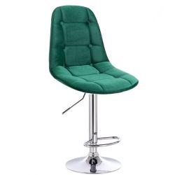 Barová židle SAMSON VELUR na stříbrném talíři - zelená