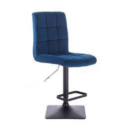 Barová židle TOLEDO VELUR na černé podstavě - modrá