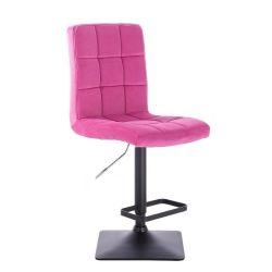 Barová židle TOLEDO VELUR na černé podstavě - růžová