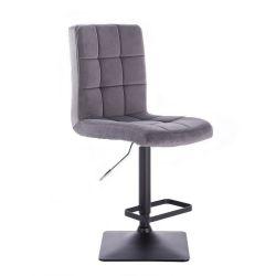 Barová židle TOLEDO VELUR na černé podstavě - tmavě šedá
