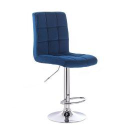 Barová židle TOLEDO VELUR na stříbrném talíři - modrá