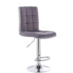 Barová židle TOLEDO VELUR na stříbrném talíři - tmavě šedá