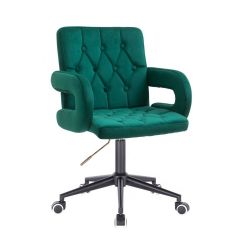 Kosmetická židle BOSTON VELUR na černé podstavě s kolečky - zelená