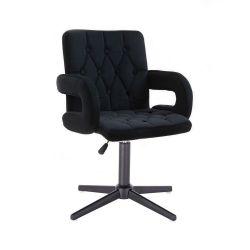 Kosmetická židle BOSTON VELUR na černém kříži - černá
