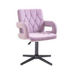 Kosmetická židle BOSTON VELUR na černém kříži - fialový vřes