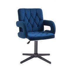 Kosmetická židle BOSTON VELUR na černém kříži - modrá