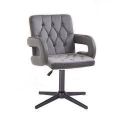 Kosmetická židle BOSTON VELUR na černém kříži - šedá