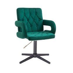 Kosmetická židle BOSTON VELUR na černém kříži - zelená