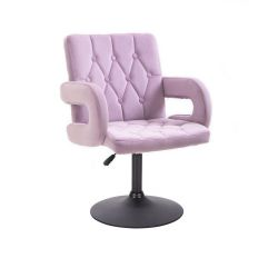 Kosmetická židle BOSTON VELUR na černém talíři - fialový vřes