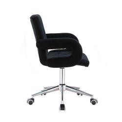 Kosmetická židle BOSTON VELUR na stříbrné podstavě s kolečky - černá