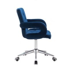 Kosmetická židle BOSTON VELUR na stříbrné podstavě s kolečky - modrá