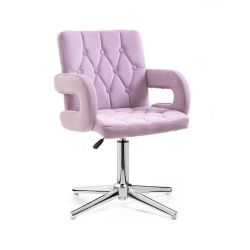 Kosmetická židle BOSTON VELUR na stříbrném kříži - fialový vřes