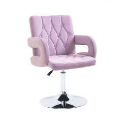Kosmetická židle BOSTON VELUR na stříbrném talíři - fialový vřes