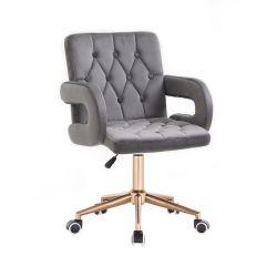 Kosmetická židle BOSTON VELUR na zlaté podstavě s kolečky - šedá