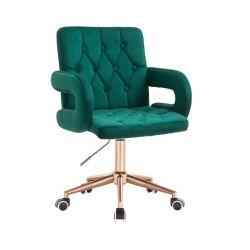 Kosmetická židle BOSTON VELUR na zlaté podstavě s kolečky - zelená