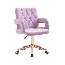 Kosmetická židle BOSTON VELUR na zlaté podstavě s kolečky - fialový vřes