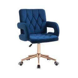 Kosmetická židle BOSTON VELUR na zlaté podstavě s kolečky - modrá