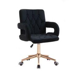 Kosmetická židle BOSTON VELUR na zlaté podstavě s kolečky - černá