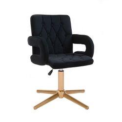 Kosmetická židle BOSTON VELUR na zlatém kříži - černá
