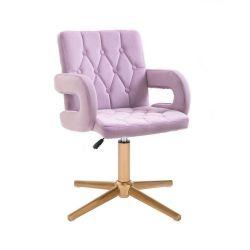 Kosmetická židle BOSTON VELUR na zlatém kříži - fialový vřes