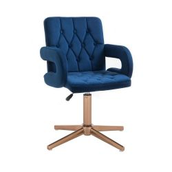 Kosmetická židle BOSTON VELUR na zlatém kříži - modrá