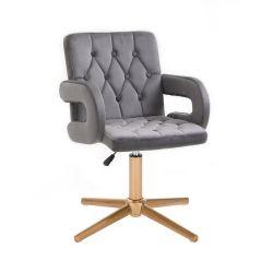 Kosmetická židle BOSTON VELUR na zlatém kříži - šedá
