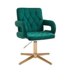 Kosmetická židle BOSTON VELUR na zlatém kříži - zelená