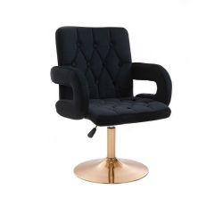 Kosmetická židle BOSTON VELUR na zlatém talíři - černá