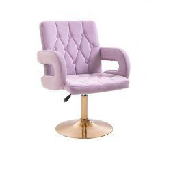 Kosmetická židle BOSTON VELUR na zlatém talíři - fialový vřes