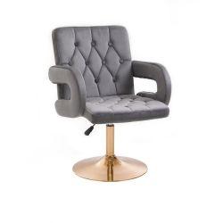Kosmetická židle BOSTON VELUR na zlatém talíři - šedá