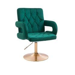 Kosmetická židle BOSTON VELUR na zlatém talíři - zelená