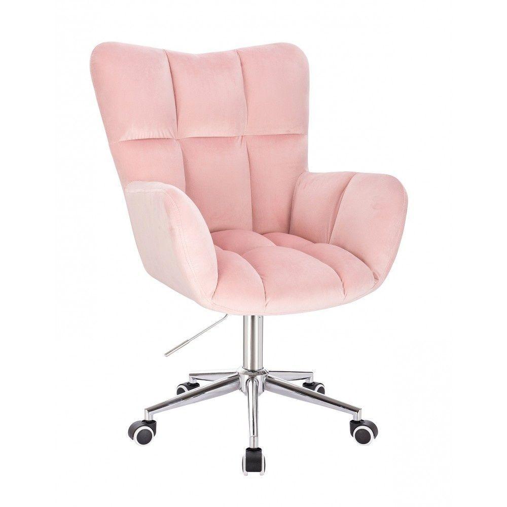 Kosmetické křeslo AURORA VELUR na stříbrné podstavě s kolečky - růžová