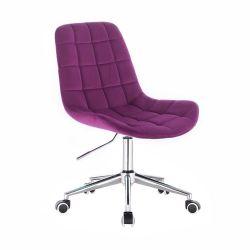Kosmetická židle PARIS VELUR na stříbrné podstavě s kolečky - fuchsie
