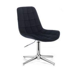 Židle PARIS VELUR na stříbrném kříži - černá